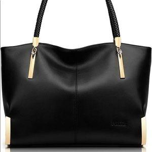 EUC Elegant Black Leather Handbag- Gold Accents